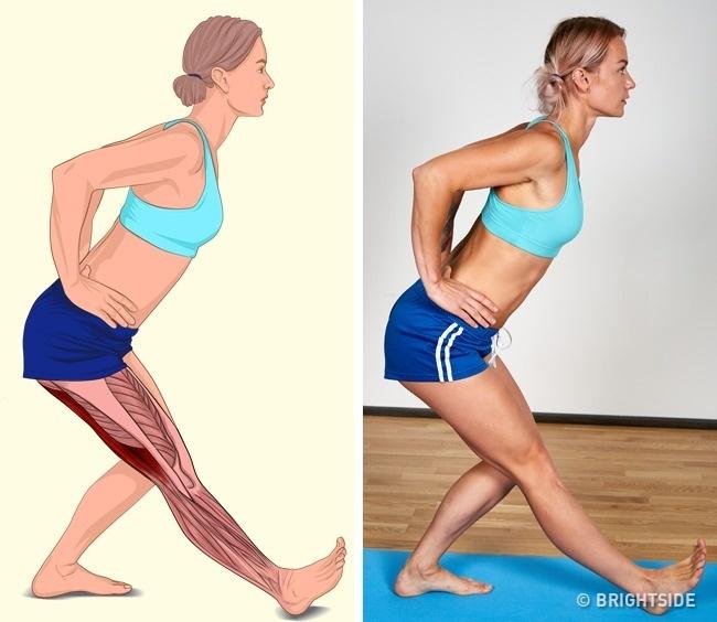 Nếu muốn có cặp giò thon gọn, hãy tập động tác bước lên trước, ngửa bàn chân, lưng đổ về phía trước 45 độ.