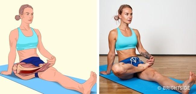 Tư thế Bồ câu (Sitting pigeon pose) giúp kéo giãn bắp chân.